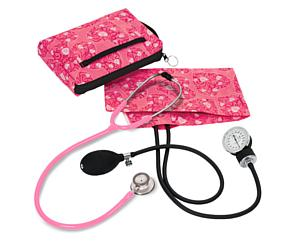 Aneroid Sphygmomanometer / Clinical Lite Stethoscope Kit, Adult, Hot Pink Hearts