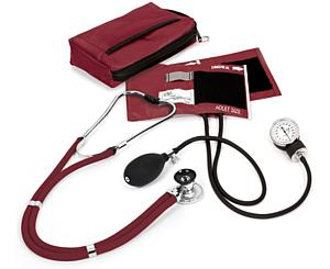 Aneroid Sphygmomanometer / Sprague-Rappaport Stethoscope Kit, Adult, Burgundy