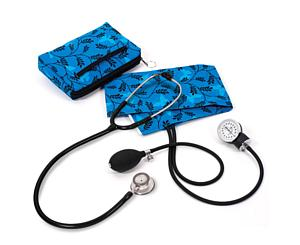 Aneroid Sphygmomanometer / Clinical Lite Stethoscope Kit, Adult, Butterflies and Ferns Blue, Print