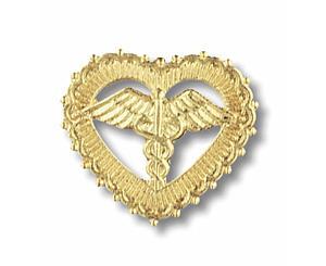 Caduceus (Filigreed Heart) Emblem Pin