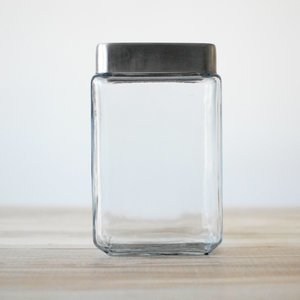 "Stackable Glass Jar with Brushed Aluminum (4""w x 7""h)"